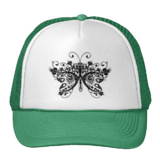 Floral Swirls Butterfly - Black & White Hat