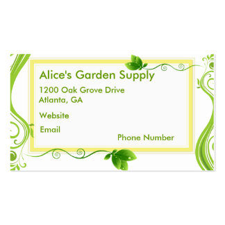 Floral Swirls in Hues of Fresh Green Pack Of Standard Business Cards