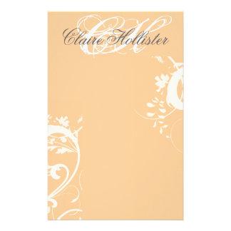Floral Swirls Monogram Custom Stationery