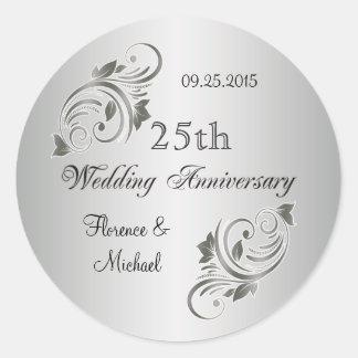 Floral swirls silver gray Anniversary Sticker