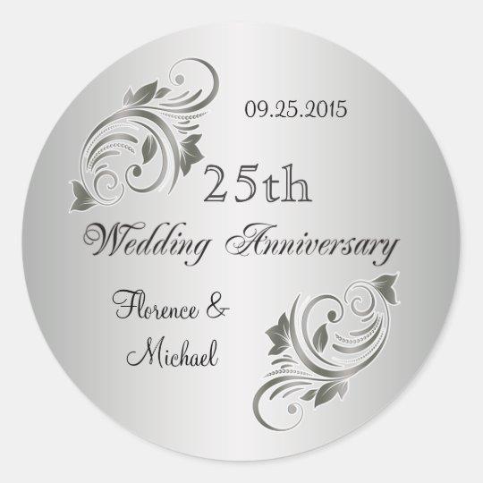 Floral swirls silver grey Anniversary Sticker