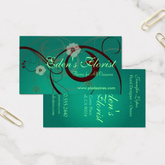 Floral Swirls, Teal Green Business Card