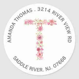Floral T Initial Monogram Return Address Sticker