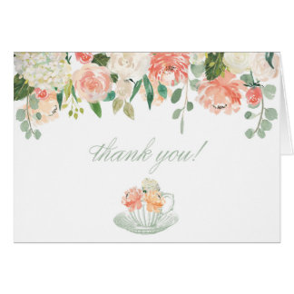 Floral Tea Cup Thank You Card Folded Baby Shower
