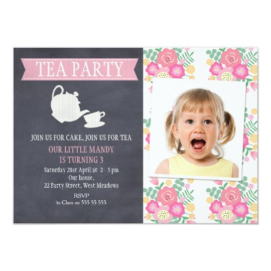 Floral Tea Party Chalkboard Birthday Invitation