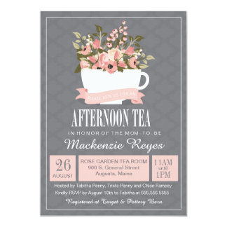 Floral Teacup Afternoon Tea Baby or Bridal Shower 13 Cm X 18 Cm Invitation Card