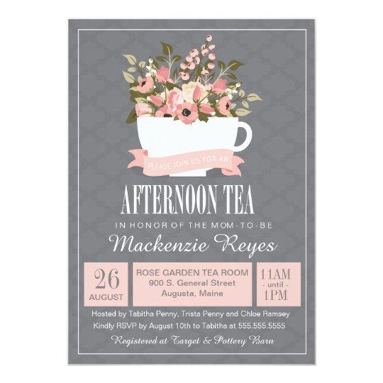 168da0f3cf9 Floral Teacup Afternoon Tea Baby or Bridal Shower Invitation ...