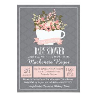 Floral Teacup Baby Shower Invitation, Tea Party 13 Cm X 18 Cm Invitation Card