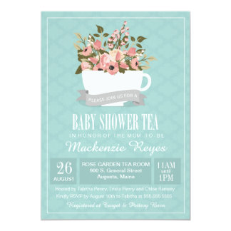 Floral Teacup Baby Shower Tea Invitation