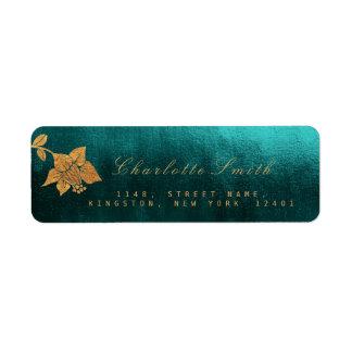 Floral Teal Golden Foil Return Address Labels