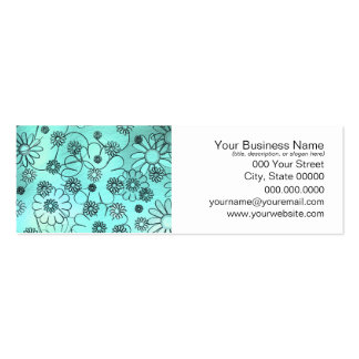 Floral Teal Green Blue Business Cards