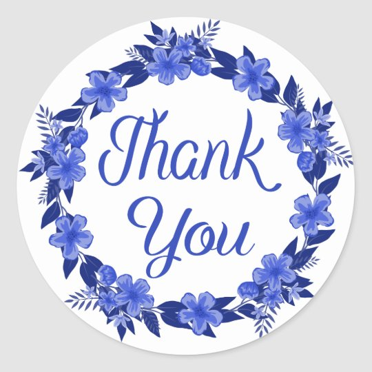 Floral Thank You Blue Watercolor Flower Wreath Round
