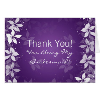 Floral Thank You Bridesmaid Exotic Blooms Purple Card