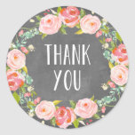 Floral Thank You   Favour Label Round Sticker