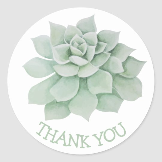 Floral Thank You Green Succulent Cactus Classic Round