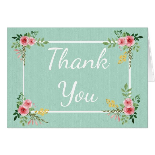 Floral Thank You Mint Green Pink Rose Flowers