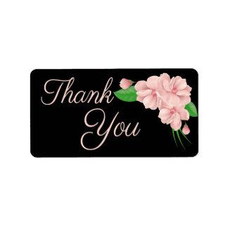 Floral Thank You Pink & Black Flower - Wedding Label