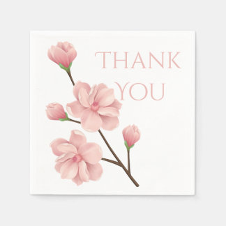 Floral Thank You Pink Cherry Blossoms Flower Party Disposable Napkin