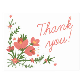 Floral Thank You Pink Coral Flowers Green Leaves Postcard