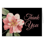 Floral Thank You Pink Lily Flower Black Note Card Cards