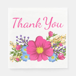 Floral Thank You Pink Magenta Watercolor Flowers Paper Napkin