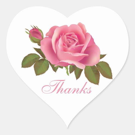Floral Thank You Pink Rose Flower Wedding Heart