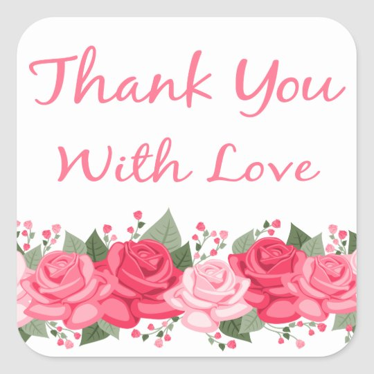 Floral Thank You Pink Rose Flowers With Love