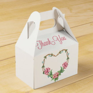 Floral Thank You Pink Rose Watercolor Flowers Party Favour Boxes