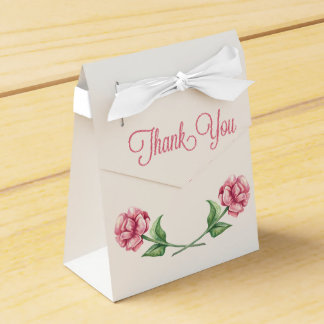 Floral Thank You Pink Roses Watercolor Flowers Wedding Favour Box