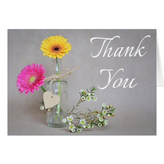 Floral Thank You Pink, Yellow Gerbera Daisy Flower Card