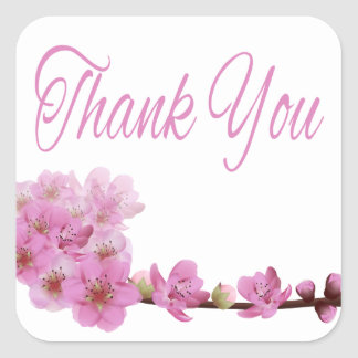 Floral Thank You Purple Cherry Blossoms Square Sticker