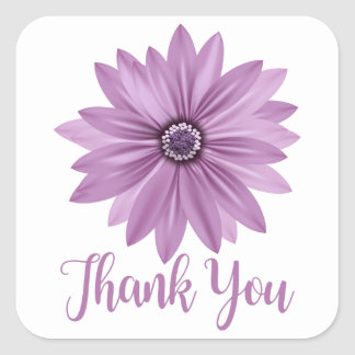 Floral Thank You Purple Daisy Flower - Daisies Square Sticker