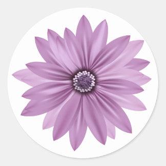 Floral Thank You Purple Daisy Flower - Lavender Round Sticker