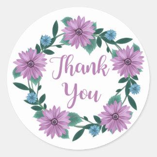 Floral Thank You Purple Daisy Flower Wreath Round Sticker