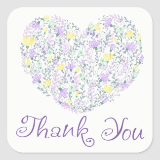 Floral Thank You Purple Heart Lavender Flowers Square Sticker