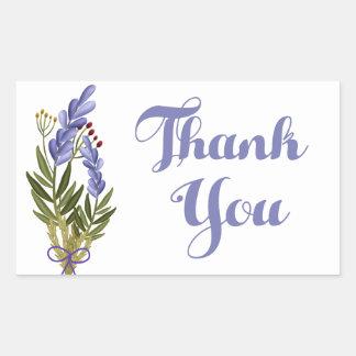 Floral Thank You Purple Lavender Flower Rectangular Sticker