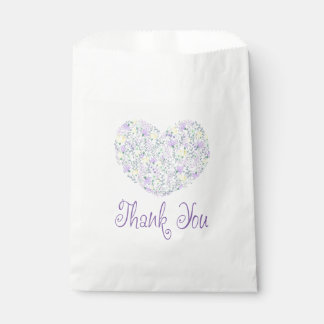 Floral Thank You Purple Lavender Heart Favour Bags