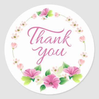 Floral Thank You Purple & Pink Watercolor Flowers Round Sticker