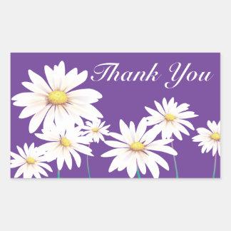 Floral Thank You Purple White Daisy Flower Rectangular Sticker