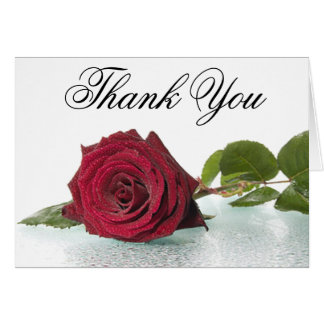 Floral Thank You Red Burgundy Rose Flower In Rain Card