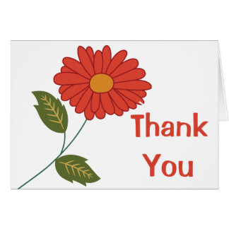 Floral Thank You Rust Red Gerbera Daisy Flower Card