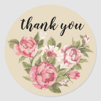 floral thank you sticker - personalize text, round
