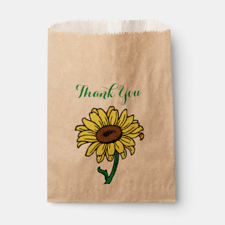 Floral Thank You Sunflower Yellow Green Flowers Favour Bags