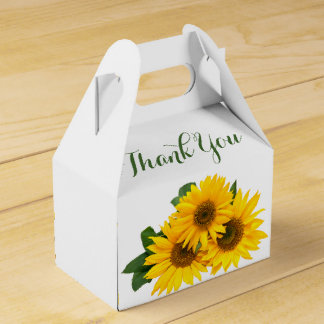 Floral Thank You Sunflowers Yellow & Green Flowers Wedding Favour Boxes