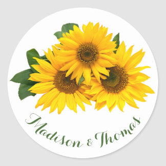 Floral Thank You Sunflowers Yellow & Green Wedding Classic Round Sticker