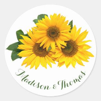 Floral Thank You Sunflowers Yellow & Green Wedding Round Sticker