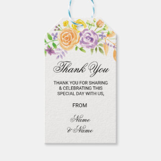 Floral Thank You Tag Floral Party Wedding Favour