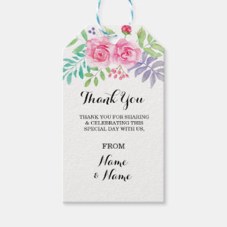 Floral Thank you Tag Wedding Favour Watercolour
