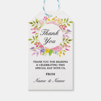 Floral Thank You Tags Floral Wedding Party Favour