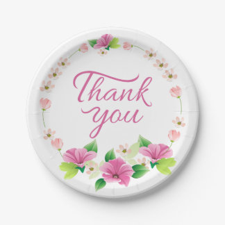 Floral Thank You Watercolor Pink & Purple Flower 7 Inch Paper Plate
